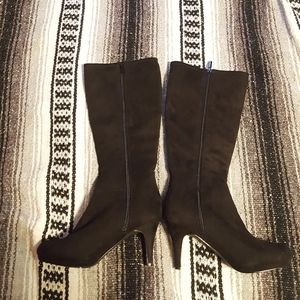 Knee High Black Suede Boots Size 7.5